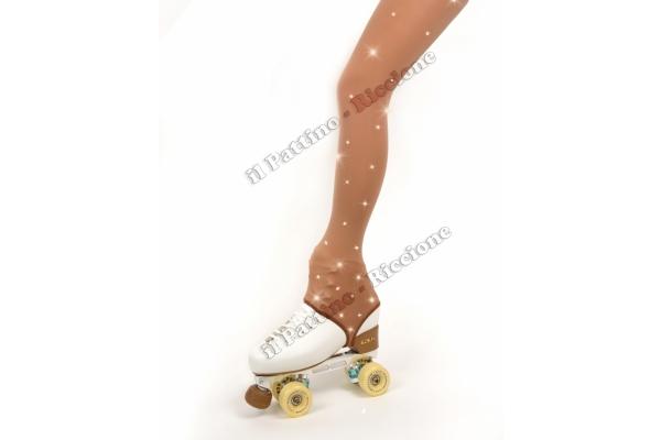 Collant colore naturale pattinaggio con Staffa e Strass